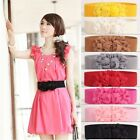 Women Flower Elastic Stretch Waist Belt Buckle Wide Stretch Retro Waistbands