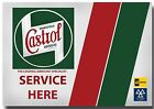 Large 'Castrol service here ' Tin Sign Tin Plaque