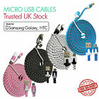 Flat Braided Micro Strong USB 2metre Charger Cable Lead for Samsung S5 S6 S7 HTC