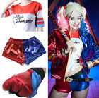 DC Comics Suicide Squad Cosplay Harley Quinn T-shirt Womens Shorts Batman Gloves