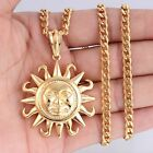Mens Chain Silver/Gold 316L Stainless Steel Tribe Sun PENDANT Necklace 18-36inch