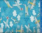 Airplane Plane Time Cotton Fabric Crafting Quilting Home Decor