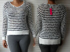NEW WOMAN'S LADIES LONG SLEEVE CABLE CROCHET MED KNIT BLACK WHITE STRIPED JUMPER