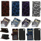For Samsung ZTE Huawei Phone Snakeskin Pattern Wallet Card Leather Case Cover KS
