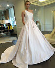 Simple One Shoulder Satin Ball Bridal Gown White Ivory A Line Wedding Dress 2016