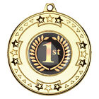 SPORTS MEDAL+ RIBBON + CENTRE + FREE LASER ENGRAVED DISC MAX 30 LETTERS ON REAR
