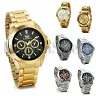 Men's Luxury Gold Silver Tone Stainless Steel Band Sport Quartz Wrist Watch