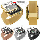 Stainless Steel Strap Buckle Watch Band+Adapter+Case Cover for Apple Watch 38/42