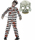 Zombie Monster Convict Prisioner Kids Childs Halloween Fancy Dress Costume+ MASK