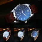 Fashion Men's Leather Stainless Steel Military Casual Analog Quartz Wrist Watch