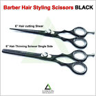 Thinning Shear & Barber Scissor Set Black Color Hair Dressing Haircutting 6 inch