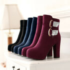 Women Thick High Heel Rhinestone Shoes faux suede round toe Platform Ankle Boots