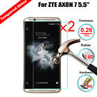"""2Pcs 9H Premium Tempered Glass Cover Screen Protector For ZTE AXON 7 5.5"""""""