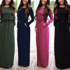 Sexy Women Long Sleeve Pockets Cocktail Clubwear Party Vintage Ladies Maxi Dress