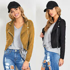 Women Black Cropped Coat Zipper Motorcycle Biker Coat Jacket Brown Size6 8 10 12