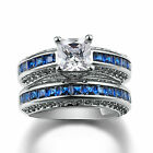 6mm Sapphire 925 Silver Gold GF Women Wedding Engagement Bridal Ring Set Jewelry