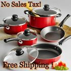 Nonstick 9-Piece Pots And Pans Cookware Set Cooking-Polished or Red Set
