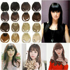 UK stock bangs clip in front fringe hair extensions straight side real as human