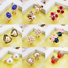 Wholesale Price 1 Pair Women Elegant Crystal Rhinestone Ear Stud Hook Earrings