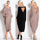 New Womens Celeb Backless Batwing Sleeve Loose Plus Size Long Maxi Evening Dress
