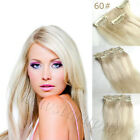 7pcs Clip in Remy Hair Extension 100% Human Hair Platinum Blonde 14''-30'' #60