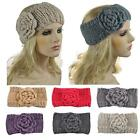 Women 3D Knitted Flower Hairband Crochet Headband Winter Hair Band