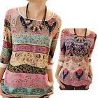 New Womens Hubble-bubble Three-quarter Sleeve Printed Chiffon Top Blouse