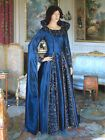Renaissance Dress Blue Medieval Gown Long Arm Custom Handmade Clothing