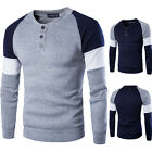 Mens Crew Neck Long Sleeve T-Shirt Slim Fit Casual Splicing ShirtsTee Sweatshirt