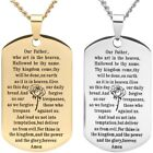 Gold Silver Tone English Our Father Lord's Prayer Dog Tag Pendant Necklace 60 CM