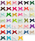 10 - 3cm Wide Satin Pre-Tied Bows (6mm Ribbon) Crafts Wedding