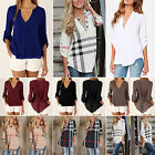 Fashion Women's V Neck Roll-Up Long Sleeve T Shirt Casual Loose Blouse Tops Tee