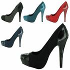 NEW WOMENS LADIES STILETTO HIGH HEELS CONCEALED PLATFORM COURT SHOES SIZE 3-8