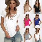 Fashion Sexy Womens V Neck Short Sleeve T Shirt Loose Casual Blouse Tops S-3XL