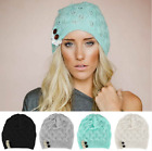 Women Lady Winter Warm Hand Knitted Crochet Lace Button Beret Beanie Hat Cap