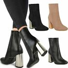 Womens Ladies Metallic Hexagon Facet Heel Ankle Boots Chelsea Winter Party Size