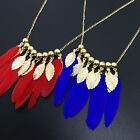 Lady Bohemian Tassel Long Feather Leaf Pendant Chain Necklace Party Jewelry