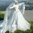 Muslim Middle East Long Sleeve Wedding Dress Tulle Appliques Arabic Bridal Dress
