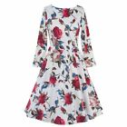 Women Vintage Floral Printed Swing Cocktail Party Housewife Daily Casual Dress