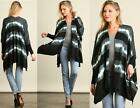 CARDIGAN STRIPED TYE DYE PRINT Side Slits Sweater Top Long Sleeve Loose S M L