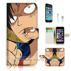 ( For iPhone 7 Plus ) Wallet Case Cover P1057 One Piece Luffy