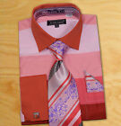 Daniel Ellissa Cotton Light Pink / Rust Shirt Set W/ Tie / Hanky / Cufflinks