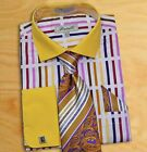 Fratello Men's Mustard Yellow / White Dress Shirt/Tie/Hanky/Cufflink Set
