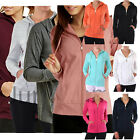 Womens Classic Active Basic Cotton Hooded Hoodie Jacket Sweatshirt Zip-Up Zipper