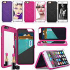 For iPhone 7/7 Plus 6s Wallet Hard PC Credit Card Holder Flip Mirror Case Cover