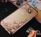 Luxury Clear Bling Diamond Flower Plating TPU Soft Case For Samsung Galaxy Phone