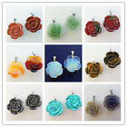 2Pcs Beautiful Carved Mixed Stone Flower Pendant Bead LL006