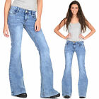New Ladies Womens 60s 70s Blue Faded Bell Bottoms Denim Flares Wide Flared Jeans