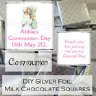Personalised DIY 1st Communion Silver Milk Chocolate Square Favour Girl Design