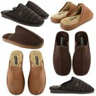 NEW MENS DUNLOP WINTER SHOES FAUX SUEDE FLAT WARM CLOSED TOE SLIPPERS MULES